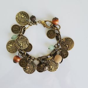 Vintage French coin charm bracelet